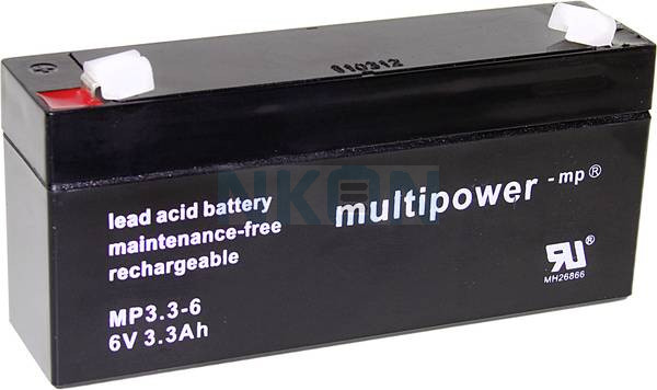 Multipower 6V 3.3Ah Lead-acid battery (4.8mm)