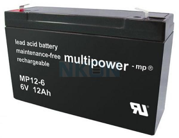 Multipower 6V 12Ah lead acid (4.8mm)