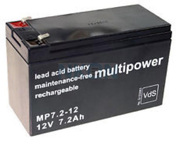 Multipower 12V 7.2Ah lead acid (6.3mm)