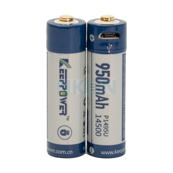 2x Keeppower 14500 950mAh (protected) - 2A - USB