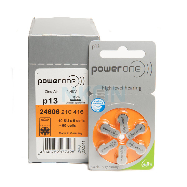 60x 13 PowerOne hearing aid batteries
