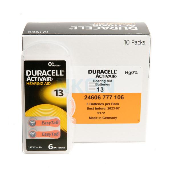 10x6 Duracell Activair 13 hearing batteries
