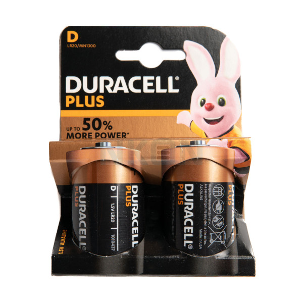 2x D Duracell Plus - blister