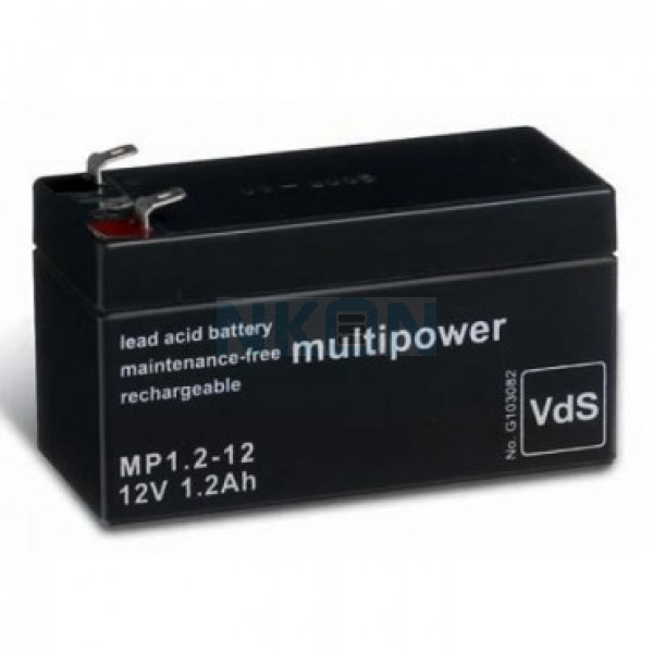 Multipower 12V 1.2Ah lead acid (4.8mm)