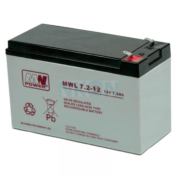 MWPower Deep Cycle 12V 7.2Ah Lead battery (6.3mm)