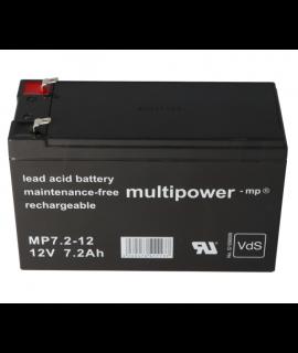 Multipower 12V 7.2Ah lead acid (4.8mm)