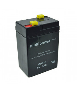 Multipower 6V 5Ah lead acid (4.8mm)