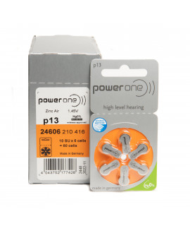 60x 13 PowerOne hearing aid batteries