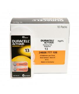 60x 13 Duracell Activair hearing aid batteries