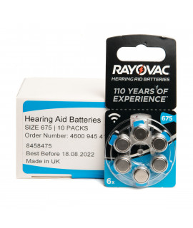 10x6 Rayovac Acoustic Special 675 hearing aid batteries