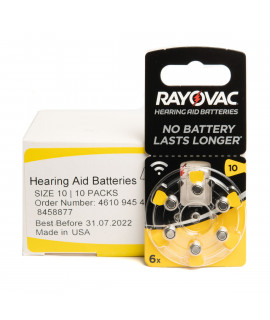 60x 10 Rayovac Acoustic Special hearing aid batteries