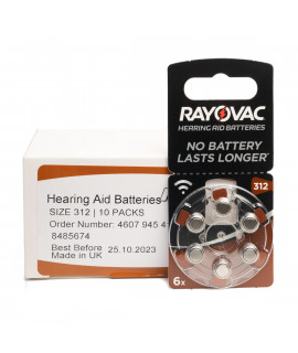 60x 312 Rayovac Acoustic Special hearing aid batteries