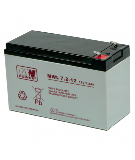 MWPower Deep Cycle 12V 7.2Ah Lead battery (6.3mm)